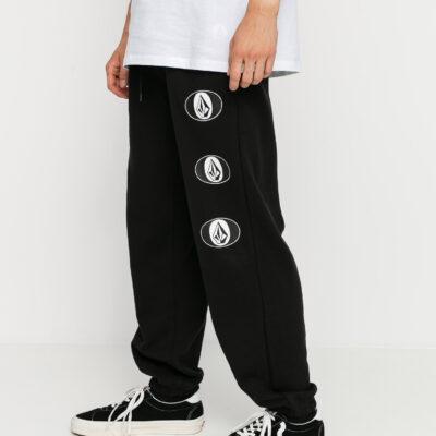 Pantalón chándal VOLCOM hombre de forro polar Stone Stack - BLACK Ref. A1232001 logos pierna
