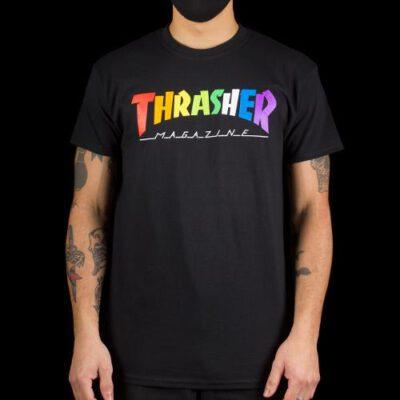 Camiseta THRASHER Hombre manga corta Rainbow Mag Ref. 144855S Negra con logo multicolor