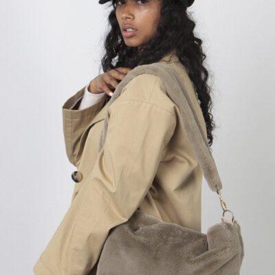 Bolso BARTS de hombro de pelo sintético suave mujer KARA SHOPPER Ref. 4966002 Color gris claro