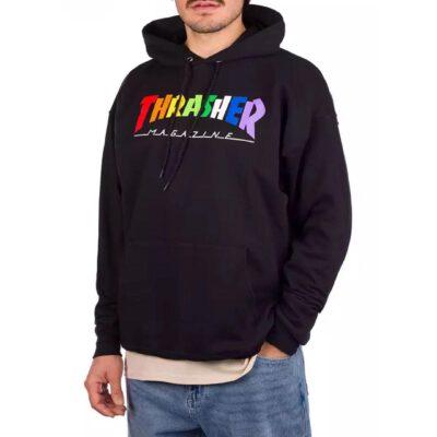 Sudadera THRASHER Hombre con capucha Thrasher Rainbow Mag Logo Hoodie Black negra logo multicolor