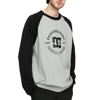 Sudadera DC SHOES Hombre Cuello redondo STAR PILOT HEATHER GREY/BLACK (xssk) Ref. ADYFT03263 gris y negra