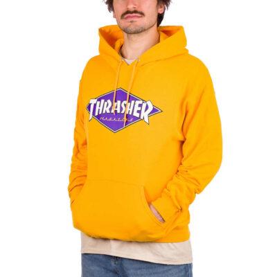 Sudadera THRASHER Hombre con capucha Ref. 144846M Rainbow Diamond Logo Hood amarillo mostaza