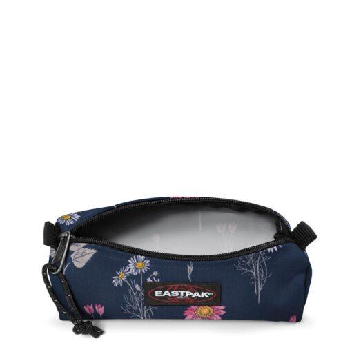Estuche Eastpak escolar: Benchmark SINGLE EK372J33 Wild Navy azul con flores rosas margaritas