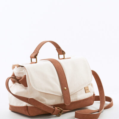 Bolso Rip Curl con asa y de hombro Haceinda Beach Medium Bag Ref. LSBOQ1 Color blanco natural y polipiel camel