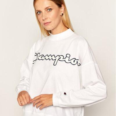 Camiseta corta CHAMPION chica manga corta Script Logo High Neck LS Tee Ref. 113197 blanca