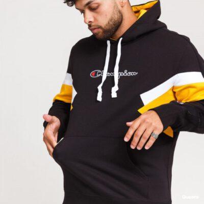 Sudadera CHAMPION Hombre con capucha COLOUR BLOCK INSERT FLEECE HOODIE Ref. 214783 negra y amarilla
