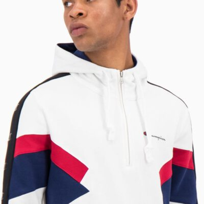 Sudadera CHAMPION Hombre con capucha HALF ZIP-UP COLOUR BLOCK INSERT FLEECE HOODIE Ref. 214784 blanca