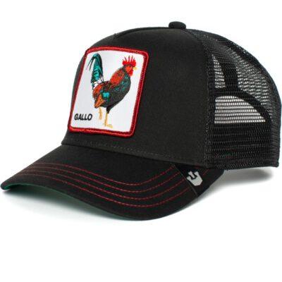 Gorra GOORIN BROS BUTCH TRUCKER COCK Gallo Animales negra con detalles rojos