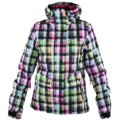 Chaqueta esquí RIP CURL niña con capucha Bubble Dots Jacket optica white Ref. 3262 Topos rojos negros y blanco