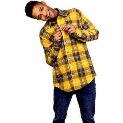 Camisa HYDROPONIC de Manga Larga franela Hombre básica DESERT Mustard Check Ref. 20527 cuadros mostaza
