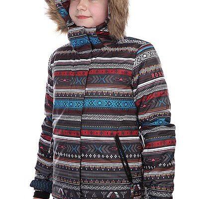 Chaqueta esquí ROXY niña con capucha pelo sintético Jett Sky (KVJ4) Ref. ERGTJ00020 negro estampado étnico