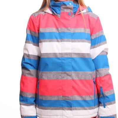 Chaqueta esquí ROXY niña con capucha Jetty Block Blue urban Strip Ref. WPTSJ053 Bandas colores