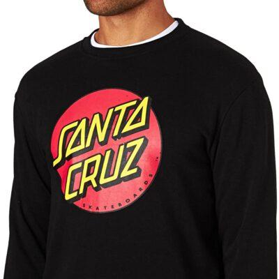 Sudadera Santa Cruz hombre suave cuello redondo casual básica CLASSIC DOT CREW Ref. SCA-CRW-9508 Negra log pecho