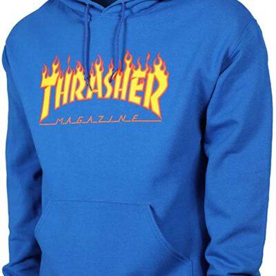 Sudadera THRASHER Hombre con capucha Flame Hoodie White Ref. 144839M Azul Royal logo llamas fuego