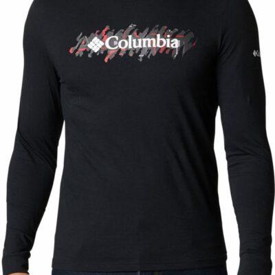 Camiseta COLUMBIA manga larga hombre estampada Columbia Lodge™ Black, CSC Retro Squiggle Typo Ref. 1867302011 negra