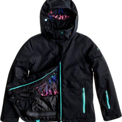 Chaqueta esquí ROXY niña con capucha Jetty Solid Ref. WTTSJ063 negra con detalles azul turquesa