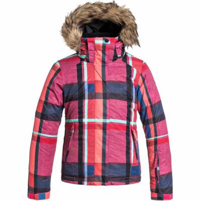Chaqueta esquí ROXY niña con capucha pelo sintético Jett Sky (KVJ1) Ref. ERGTJ03000 Cuadros rosa