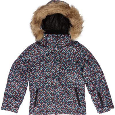 Chaqueta esquí ROXY niña con capucha pelo sintético Jett Sky Anthr roses are (KVJB) Ref. WTTSJ204 Negra flores colores