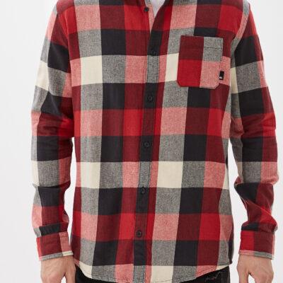 Camisa QUIKSILVER de Manga Larga franela Hombre Motherfly Flannel Long Sleeve Shirt (RQK1) Ref. EQYWT03918 Cuadros rojos blancos y negros