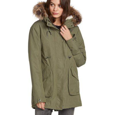 Chaqueta invierno VOLCOM Mujer Urbana con capucha cálida Walk On By 5K ParkaOlive Ref. B1531951 Verde oliva
