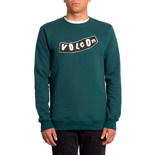 Sudadera VOLCOM Hombre cuello redondo SUPPLY STONE CREW BLACK Ref. A4631901 verde logo negro