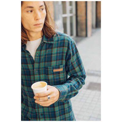 Camisa HYDROPONIC de Manga Larga franela Hombre básica SCOT SH Navy Green Check Ref. 20524 cuadros verdes y azules