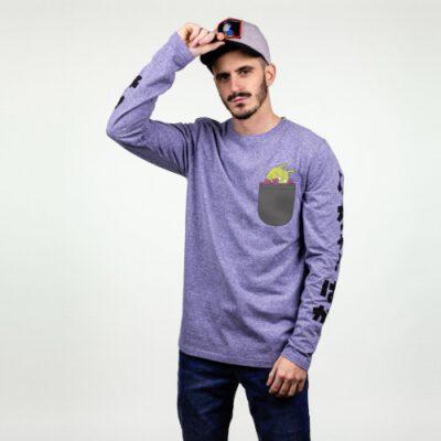 Camiseta Hombre HYDROPONIC Skate manga larga T-SHIRT KING NICOCHAN LS CLASSIC Ref. 20510 Heather Blue Azul jaspeado