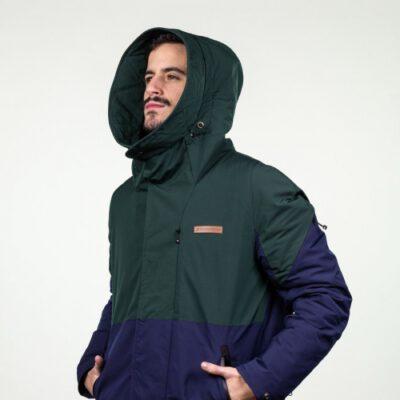 Chaqueta acolchada Hydroponic invierno hombre con capucha WESTERN Dark Green Navy Ref. 20565 Verde y gris