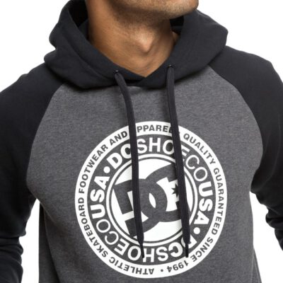 Sudadera DC SHOES Hombre con capucha CIRCLE STAR HOODIE BLACK/ CHARCOAL HEATHER (xkkk) Ref. EDYSF03178 gris y negra logo blanco