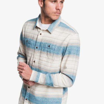 Camisa QUIKSILVER de Manga Larga franela Hombre Inca Gold Stripe MOONLIT OCEAN (byk3) Ref. EQYWT03846 azules y beig