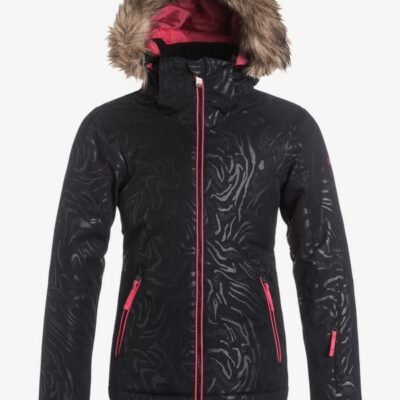 Chaqueta esquí ROXY niña con capucha pelo sintético Jet Ski Solid TRUE BLACK (kvj0) Ref. ERGTJ03018 negra con detalles rosas