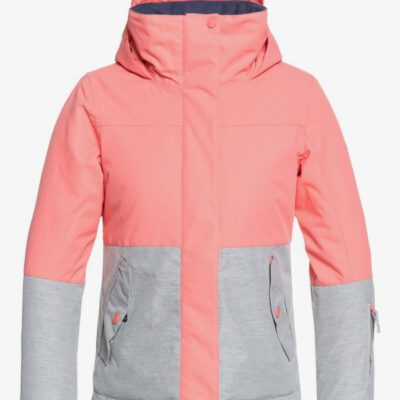 Chaqueta esquí ROXY niña con capucha Jetty Block SHELL PINK (mhg0) Ref. ERGTJ03059 Rosa palo y gris claro