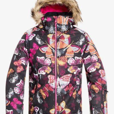 Chaqueta esquí ROXY niña con capucha pelo sintético Jett Sky TRUE BLACK BUTTERFLY (kvm3) Ref. ERGTJ03075 Mariposas colores