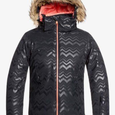 Chaqueta esquí ROXY niña con capucha pelo sintético Jet Ski TRUE BLACK AZTECSPIRITEMBOS (kva1) Ref. ERGTJ03079 negra con detalles rosas