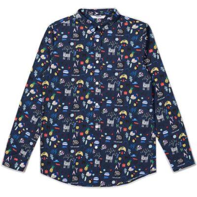 Camisa vegana WEMOTO chica cierre con botones KIRSTY Ref. 162.301-400 Blue Navy fondo azul estampado multicolor