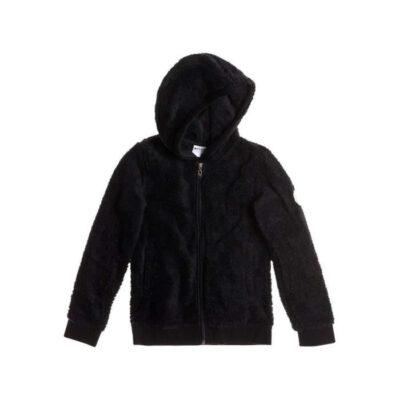 Polar suave ROXY niña con capucha y cremallera Hi Daddy Hibiscu (kvj0) Ref. ERGPF03000 Negra Letra R espalda bordada