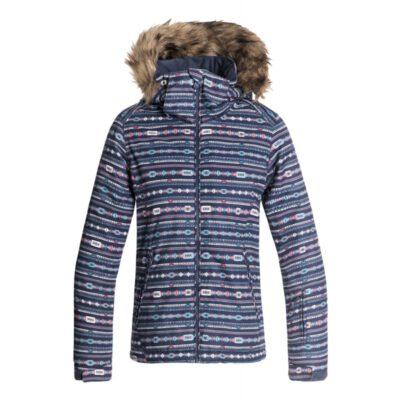 Chaqueta esquí ROXY niña con capucha pelo sintético Jett Sky (BQY4) Ref. ERGTJ03053 Azul estampado étnico