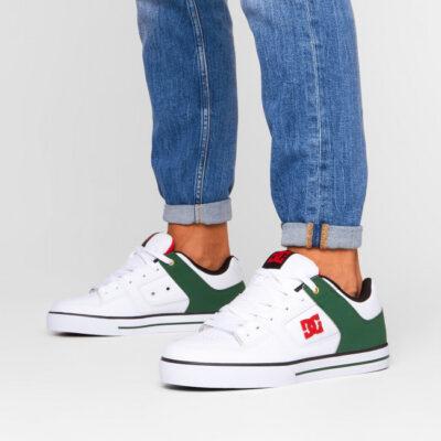 Zapatillas de piel cuero DC SHOES para hombre PURE SE Black/White/Gold Ref. 301024 Blanca/verde