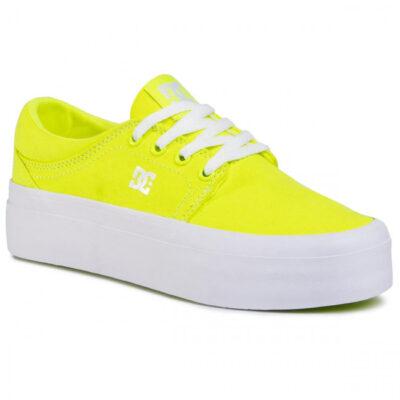 Zapatillas plataforma DC Shoes para mujer de lona TRASE PLATAFORM TX Bright Yelow Ref. ADJS300184 Amarilla fluor