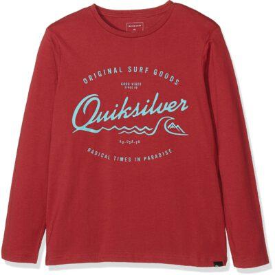 Camiseta manga larga niño Quiksilver West Pier LS TEE BLACK Ref. EQBZT03359 rqko granate letras turquesa