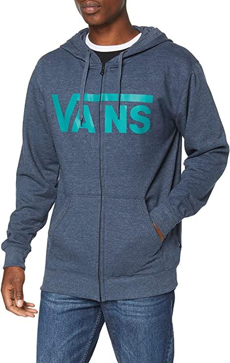 Sudadera VANS con capucha y cremallera para Chicos Ref. VN000J6KTDK1 MN Vans classic zip hd azul tejano letras verdes