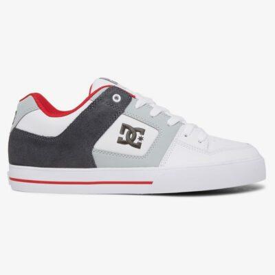 Zapatillas de piel cuero DC SHOES para hombre PURE White/Grey/Red Ref. 300660 Blanco gris y Roja