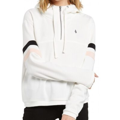 Sudadera volcom Mujer con capucha COLOR CODED HOODIE WHITE Ref. B4132001 Blanca bloques color mangas