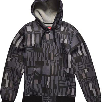 Sudadera exterior niño QUIKSILVER con capucha y forrada interior borreguito Hood Zip Sweat Sherpa All Over Shirt Blender raven Ref. KGMPO083 GRIS