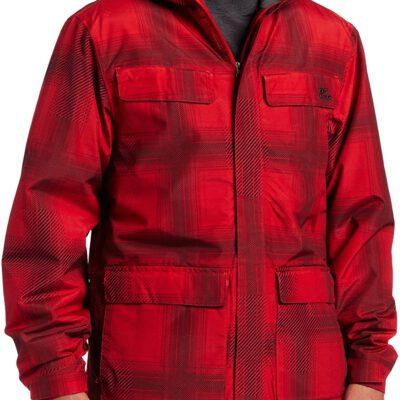 Chaqueta invierno Rip Curl hombre nieve acolchada con capucha cálida Answer Jacket Flame Scarlet Ref. S1CJGP Cuadros roja