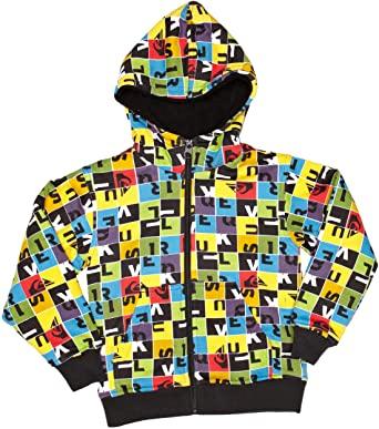 Sudadera exterior niño QUIKSILVER con capucha y forrada interior borreguito Hood Zip Sweat Sherpa All Over Shirt Jacke Ref. KKBSW913 multicolor logos
