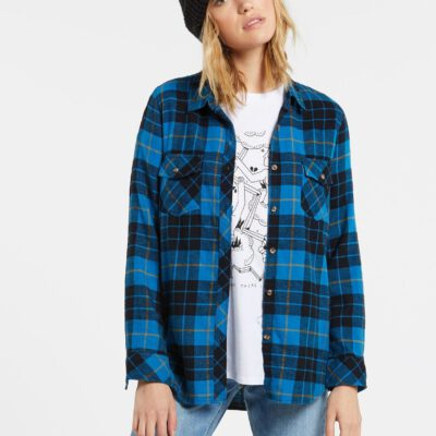 Camisa Mujer VOLCOM Franela manga larga GETTING RAD PLAID - TURKISH BLUE Ref. B0531800 cuadros azules