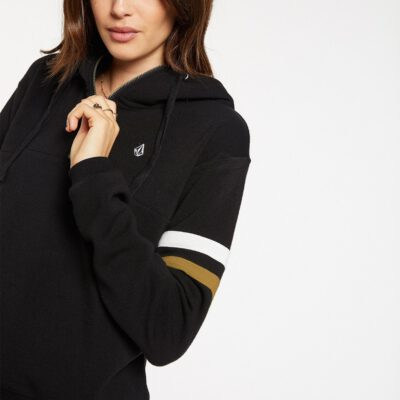 Sudadera volcom Mujer con capucha COLOR CODED HOODIE BLACK Ref. B4132001 Negra bloques color mangas