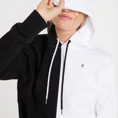 Sudadera Top VOLCOM Mujer con capucha corta VOL STONE HOODIE Ref. B4112000 Mitad blanca y mitad negra