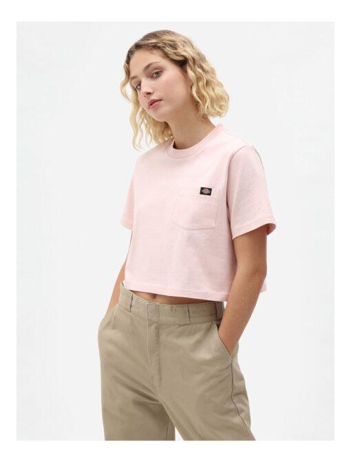 Nueva colección Camiseta corta top DICKIES mujer manga corta básica Portedale crop W lpi light pink Ref. DK0A4XDELPI Rosa palo